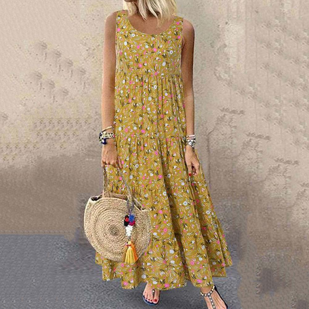 Floral sleeveless loose oversized long dress Bohemian casual dress