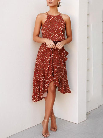 Off-the-shoulder polka dot mididress