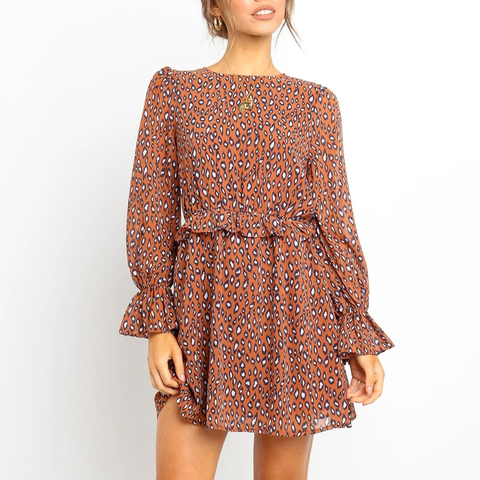 Waistband print round neck bubble sleeve dress