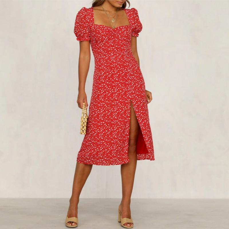 French vintage square neck floral midi split dress