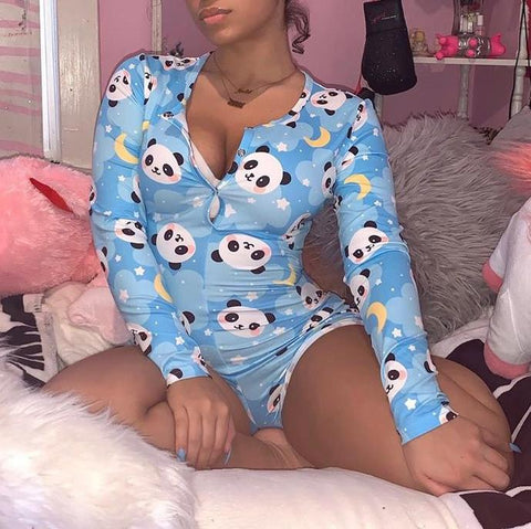 Super cute Panda open chest long sleeve home Pajama Jumpsuit