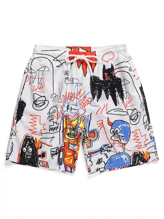 Funny Cartoon Graphic Print Casual Shorts