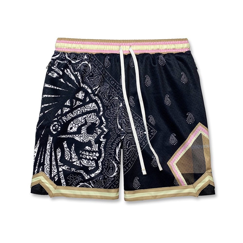 Skull cashew Flower Printed ball pants short