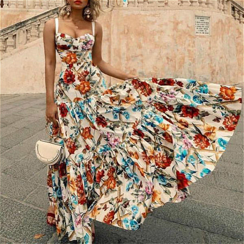 Floral print sleeveless boho maxi dress