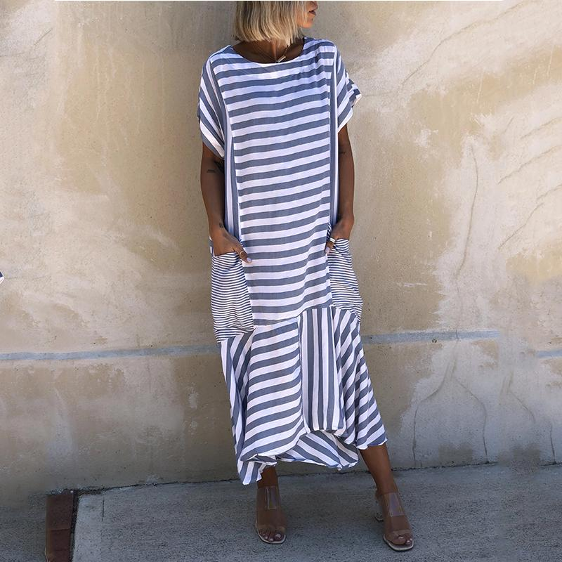 CASUAL STRIPES SHORT SLEEVE POCKETS CREW NECK DRESSES