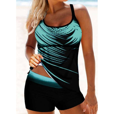Strappy Back Cyan Palm Leaf Print Tankini Set