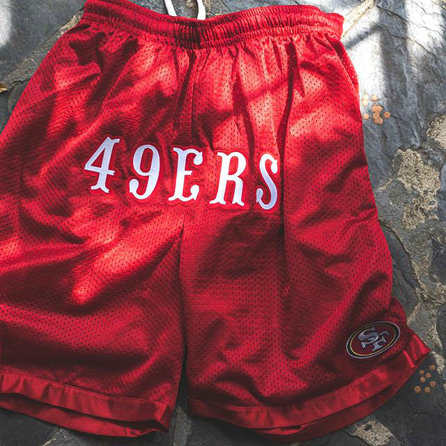 49ers print red men's shorts