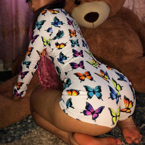 Color butterfly sexy open chest long sleeve Pajama Jumpsuit