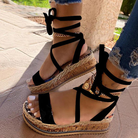 Ankle Strap Lace-Up Platform Open Toe Serpentine Casual Sandals