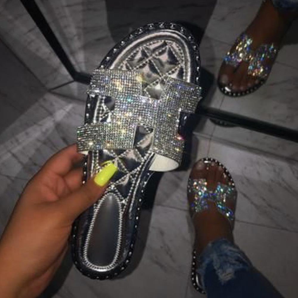 Flip Flop Flat With Sequin Slip-On PVC Slippers