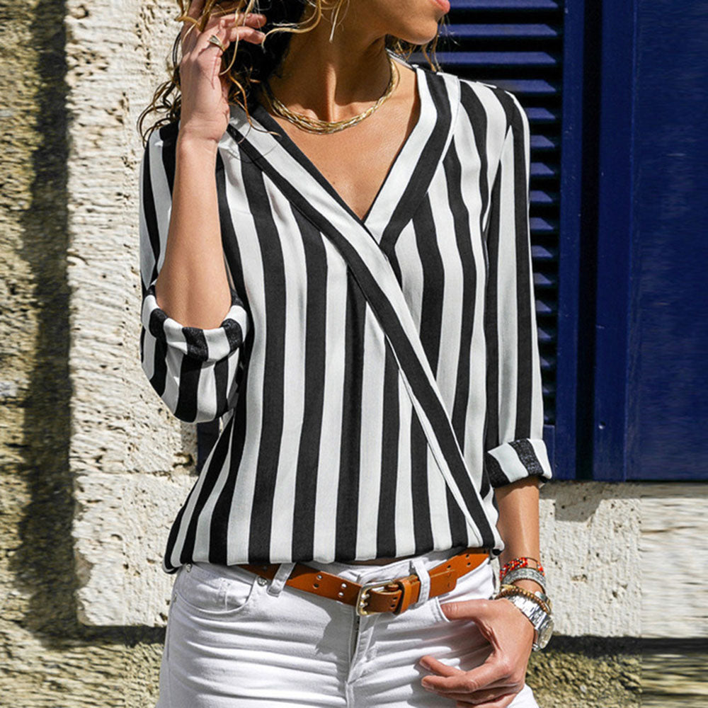 Casual V-neck stripe chiffon women's top Long Sleeve Shirt