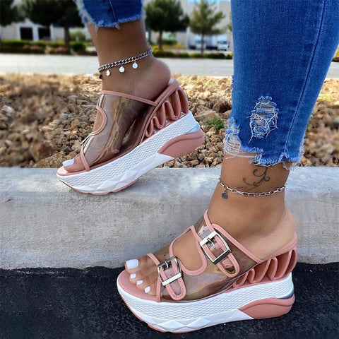 Women's sandals with high buckle in summer