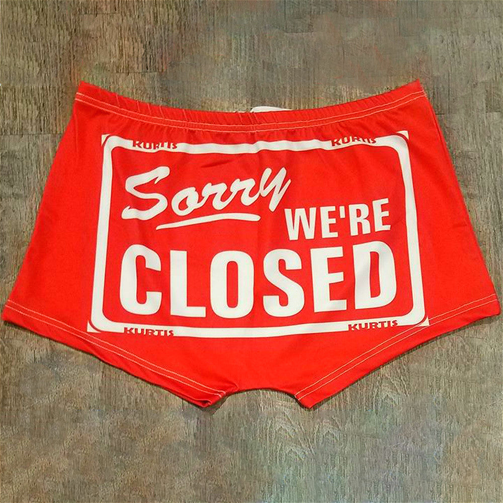 Sorry we're closed letter print sexy shorts