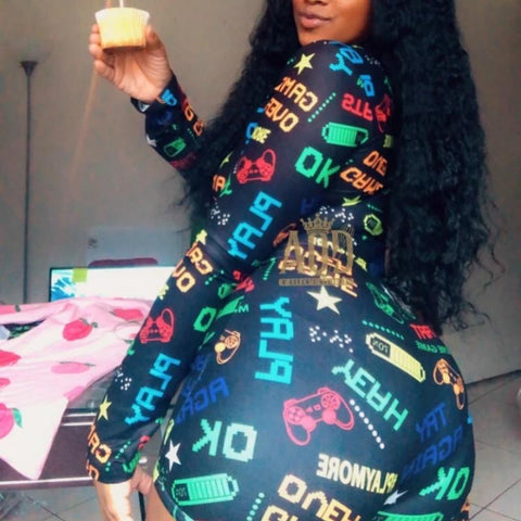She got game long sleeve sexy home Pajama Jumpsuit