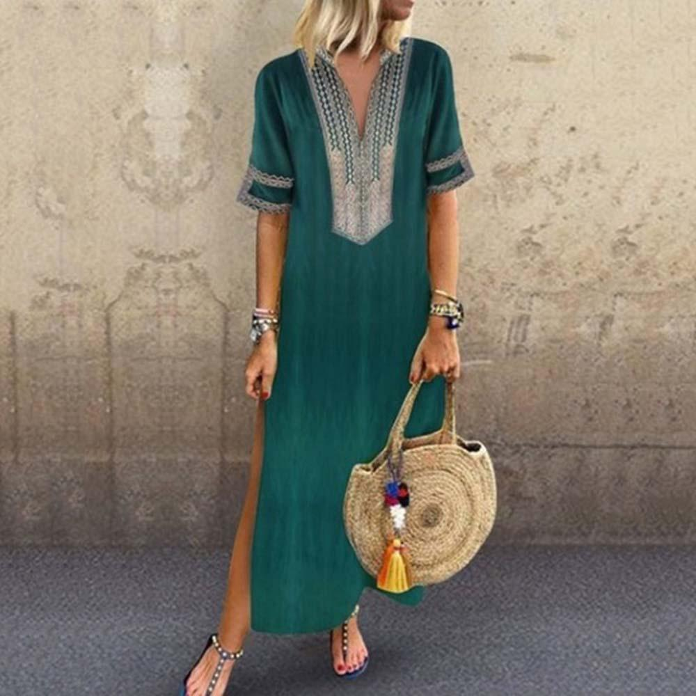 Women Summer Dress Casual V Neck Half Sleeve  Maxi Dresses