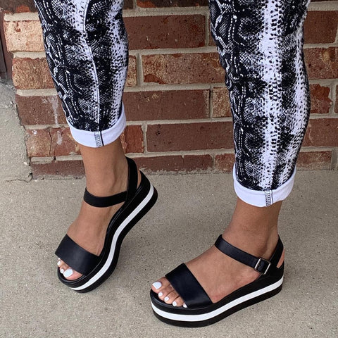 Classic black and white contrast sandals