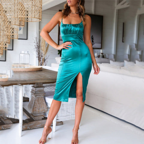 Sling Slim Fit Hip Satin Dress