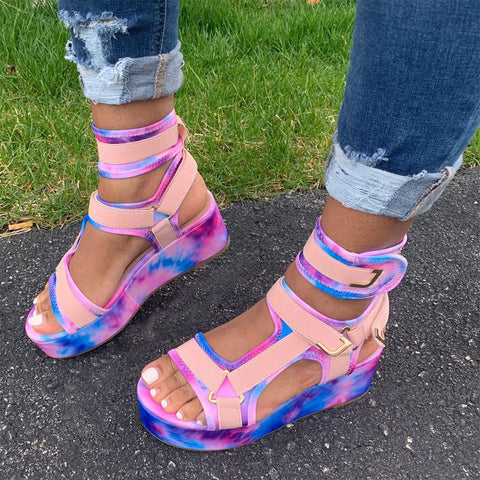 Tie dye printed sandals with thick soles