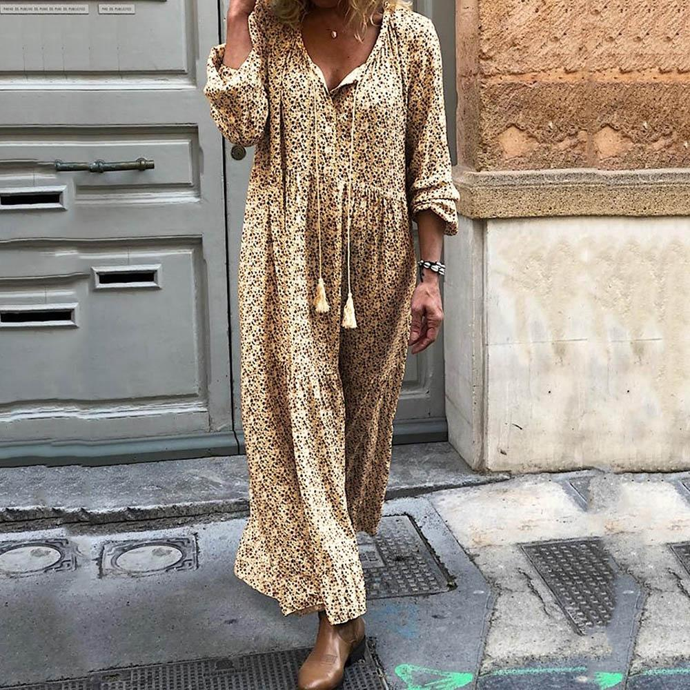 Women's Bohemian long sleeve V-neck printed long dress for women