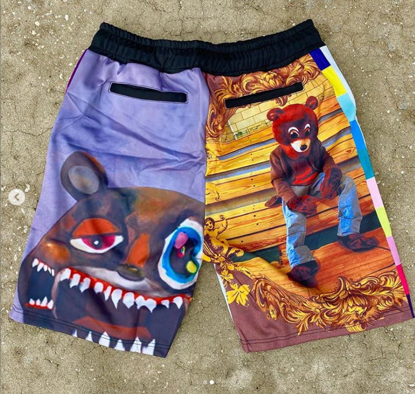 Cartoon print sports style casual shorts