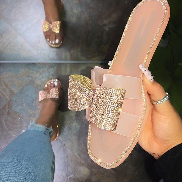 Breathable bow sequins embellish trend slippers