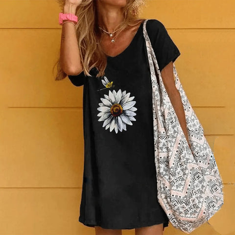 Black Printed Cotton Casual Dresses