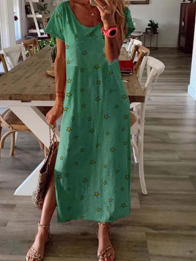 Green Star Short Sleeve Round Neck Dresses