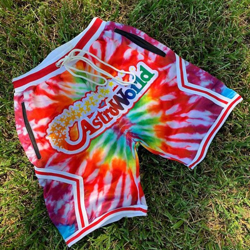 Colorful printed letters sports style shorts