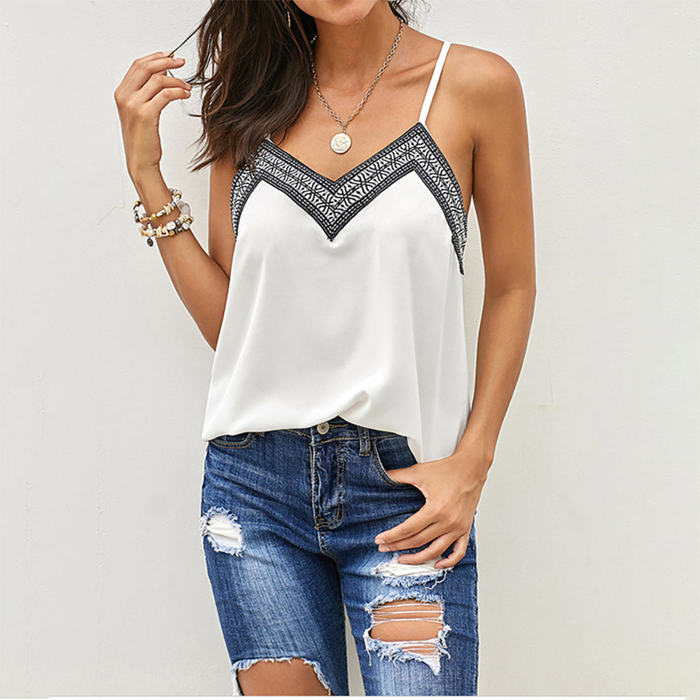 Summer inside and outside wear loose embroidery Halter Top