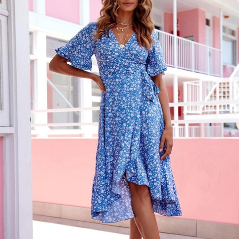 Retro print V-neck lace-up short-sleeved sexy midi dress