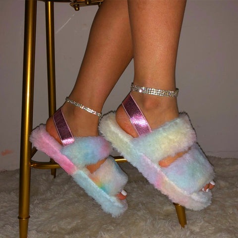 Loose fuzzy home slippers sandals