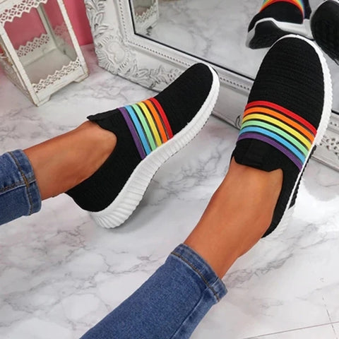 Rainbow knit causal sneaker