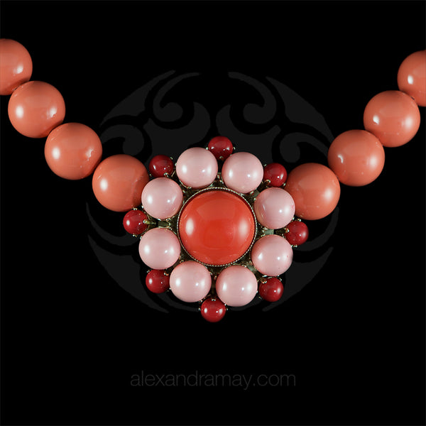 Philippe Ferrandis 'Polynesia' Salmon Pink & Coral Glass Large Bead Necklace
