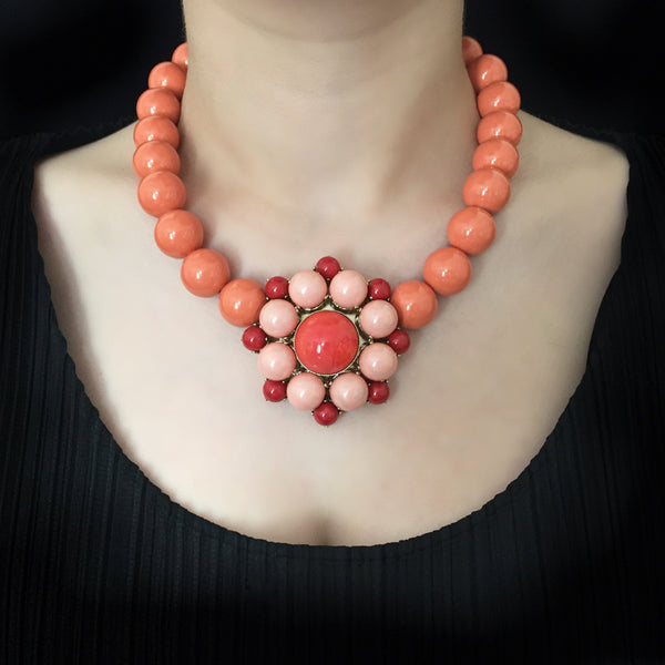 Philippe Ferrandis 'Polynesia' Salmon Pink & Coral Glass Bead Necklace