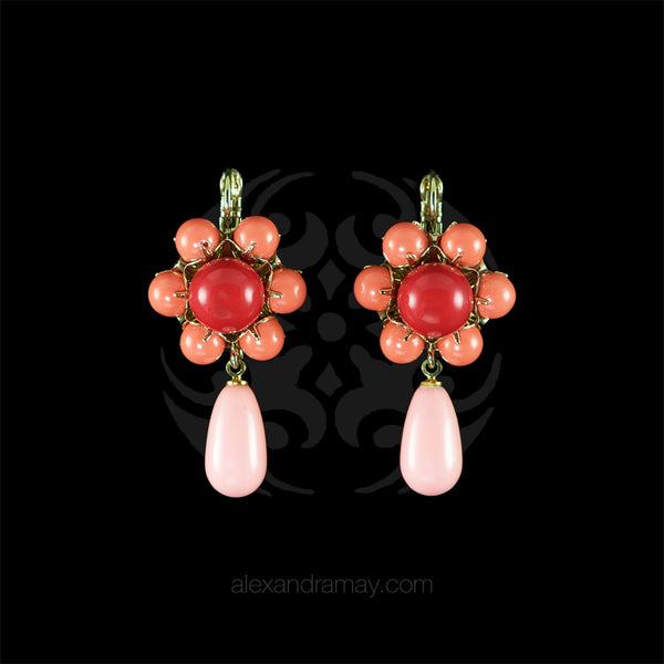Philippe Ferrandis 'Polynesia' Salmon Pink, Coral & Red Hook Earrings
