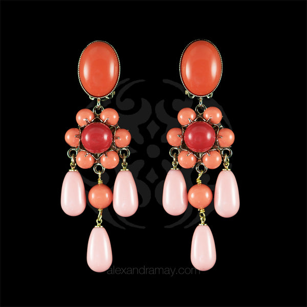 Philippe Ferrandis 'Polynesia' Salmon Pink, Coral & Red Clip-on Earrings