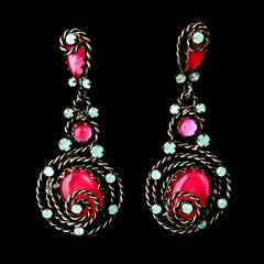 Konplott 'Twisted Lady' Pierced Fuchsia/Orange Earrings (836524) Front