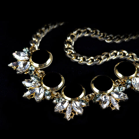 Anton Heunis 'Gotham City' 5 jet crystal Cluster Necklace (GC1.10) detail