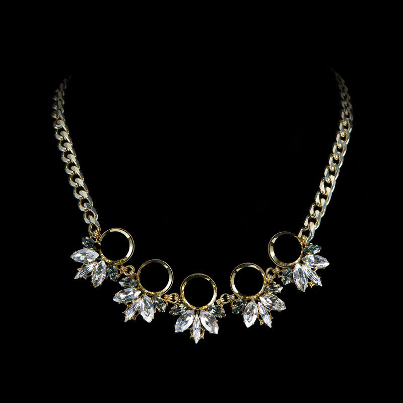 Anton Heunis 'Gotham City' 5 jet crystal Cluster Necklace (GC1.10)