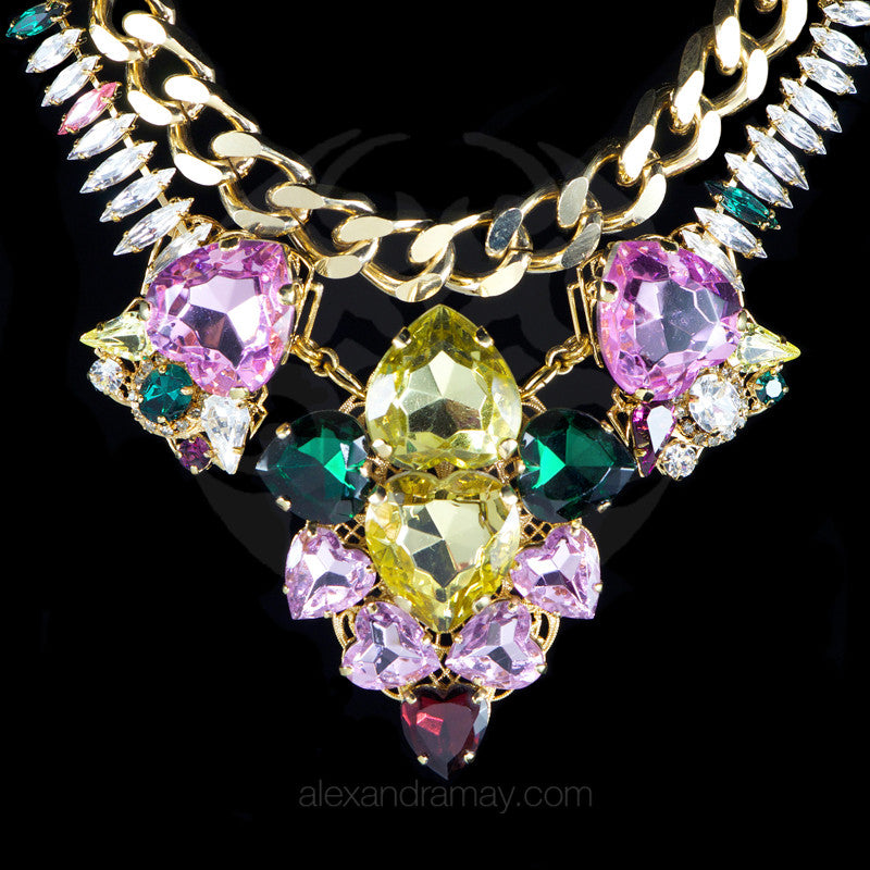 Anton Heunis 'Les Demoiselles' Spectacular Large Chunky Pastel Heart Necklace (MDS1.23)