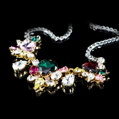 Anton Heunis 'Les Demoiselles' Multicoloured Triple Vintage Heart Crystal Necklace (MDS1.10) detail