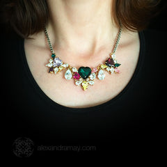 Anton Heunis 'Les Demoiselles' Multicoloured Triple Vintage Heart Crystal Necklace (MDS1.10) model