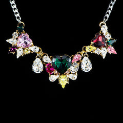 Anton Heunis 'Les Demoiselles' Multicoloured Triple Vintage Heart Crystal Necklace (MDS1.10)