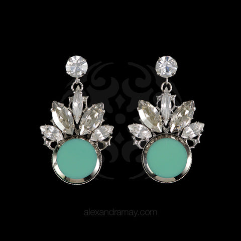 Anton Heunis 'Twiggie' Mint & Crystal Cluster Earrings (TWG3.06)