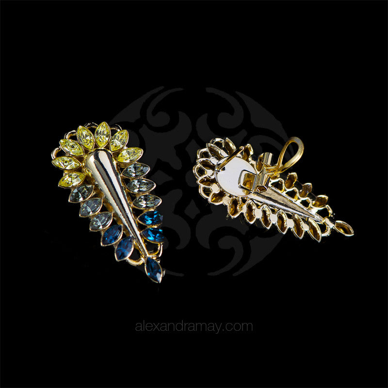 Anton Heunis 'Zulu Goddess' Lemon & Navy Crystal Spike Earrings (ZED3.08)