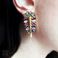 Anton Heunis 'Zulu Goddess' Multicoloured Crystal Spike Earrings (ZED3.07) model