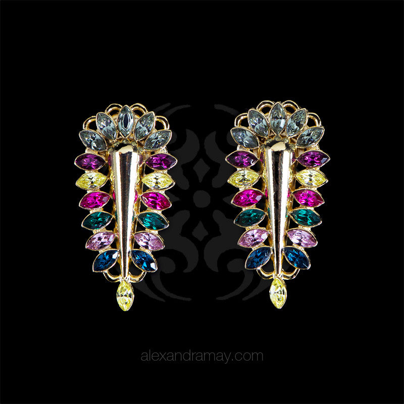 Anton Heunis 'Zulu Goddess' Multicoloured Crystal Spike Earrings (ZED3.07)