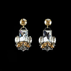 Anton Heunis 'Alexis' Gold & Neutral Rectangular Cluster Stud Earrings (ALX3.24)
