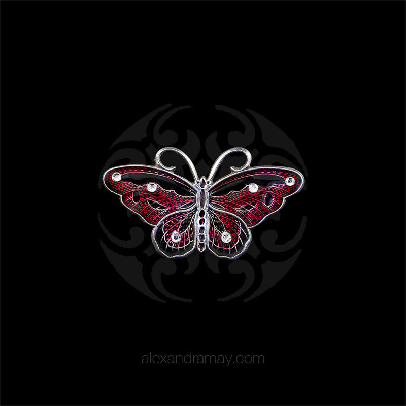 Au Bout Des Reves Tiny Black & Garnet Butterfly Brooch (ABR150)