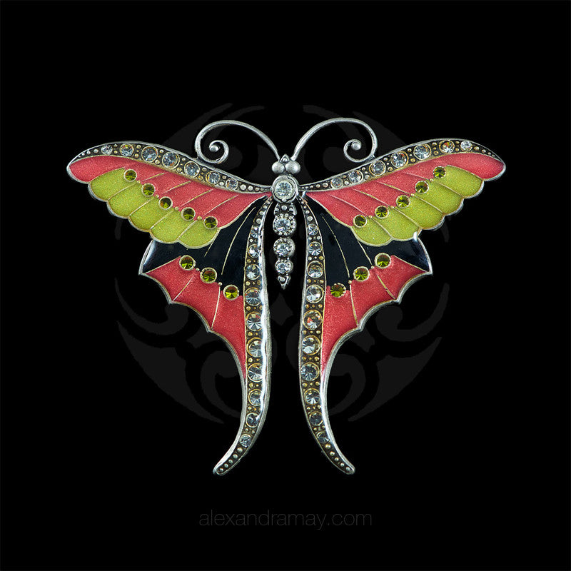 Au Bout Des Reves Black Pink & Lime Enamel Butterfly Brooch (ABR109)